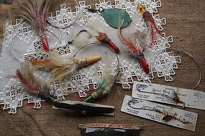7 Old Fishing Lures w Feathers, Lines on Orig Cards and more - WOW!