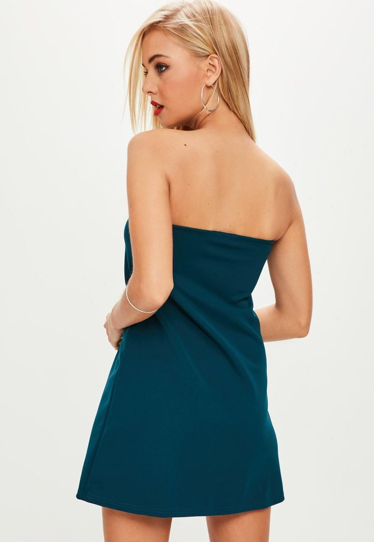 Missguided - Blue Scuba A Line Bandeau Dress