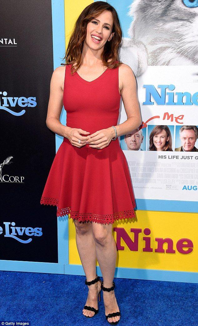 Scarlet fever: Jennifer Garner looked red hot at the premiere of Nine Lives in Hollywood on Monday