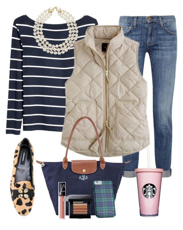 """""""OOTD"""" by prepstepkate on Polyvore featuring Current/Elliott, H&M, Chanel, J.Crew, Dsquared2, Longchamp, Vineyard Vines, NARS Cosmetics, Bobbi Brown Cosmetics and preppy"""