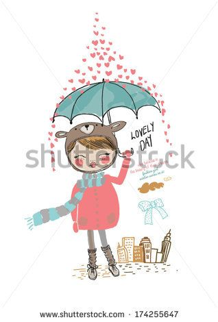 cute girl illustration with heart by yusuf doganay, via Shutterstock