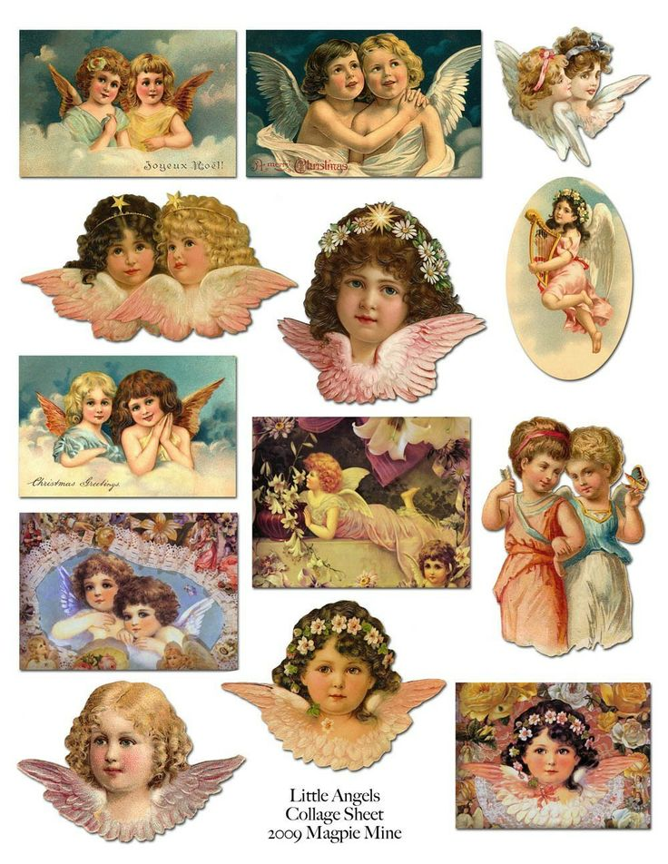 Little Victorian Angels Printable Collage Sheet via Etsy.