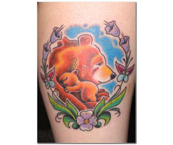 Bear With Baby Bear Tattoo