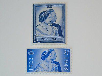Stamp Pickers Great Britain 1948 Silver Wedding £1 Set Scott #267-268 MH