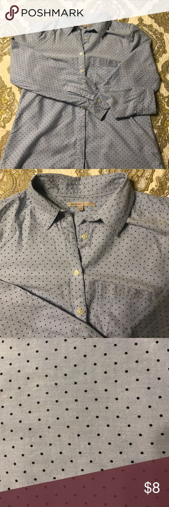 GAP Polka Dot Oxford Shirt Women's oxford shirt with polka dots. Adorable by itself or under a sweater. Great staple piece GAP Tops Button Down Shirts
