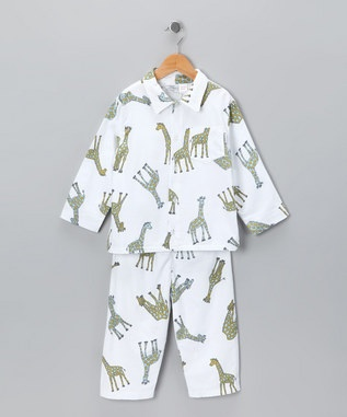 Cute for a little guy -White Giraffe Flannel Pajama Set - Infant, Toddler & Boys