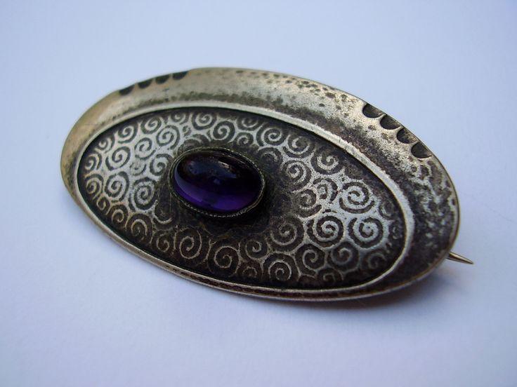 Antique German Jugendstil Secessionist Art Nouveau Kirchgaessner Robert Kraft Pforzheim K Alpacca Silver Brooch Pin Glass Stone Brosche