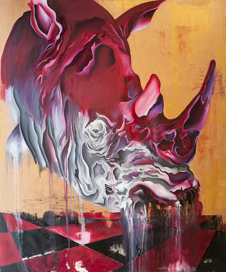 """'Checkmate' by George Keaton  (ORIGINAL)  • Charcoal & oils • 72"""" x 60"""" stretched canvas  • Abstract fine art painting of a Rhinoceros  (Limited edition signed prints also available)  SHIPPING: This painting can be packaged and shipped within the U.S. for a flat fee of $300. FREE LOCAL DELIVERY (Chicago   Milwaukee   Madison)  http://www.babynaellakeaton.com"""