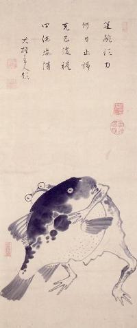 Jakuchu Ito 「河豚と変えるの相撲図」(江戸時代中期)