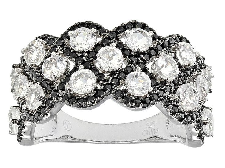 1.90ctw Round White Danburite And .90ctw Round Black Spinel Sterling Silver Ring