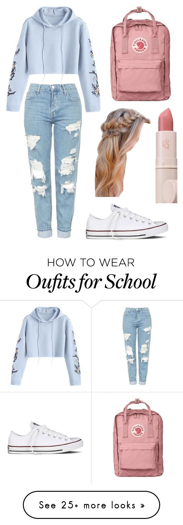 """""""School Chic """" by agronstyles on Polyvore featuring Topshop, Converse and Lipstick Queen"""