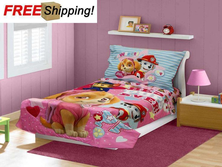 BabyBoom Girls room PAW Patrol Skye Best Pups Ever 4Psc Toddler Bedding Pink NEW   eBay