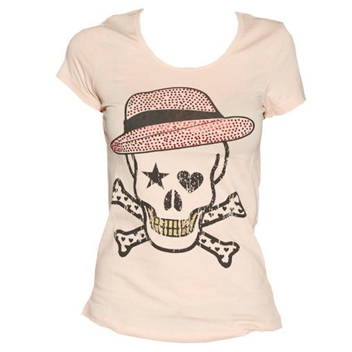 Roze doodshoofd t-shirt