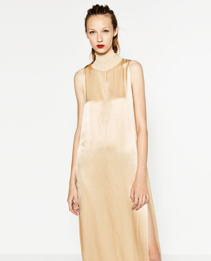 Image 2 of HIGH NECK SATEEN DRESS from Zara