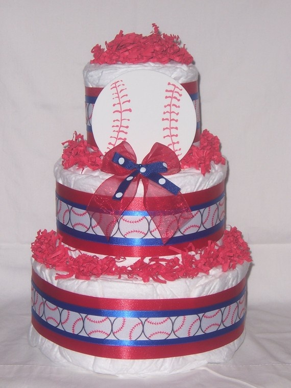 Philly - Baseball diaper cake!! I think we could make it a little cuter, but you get the idea :)