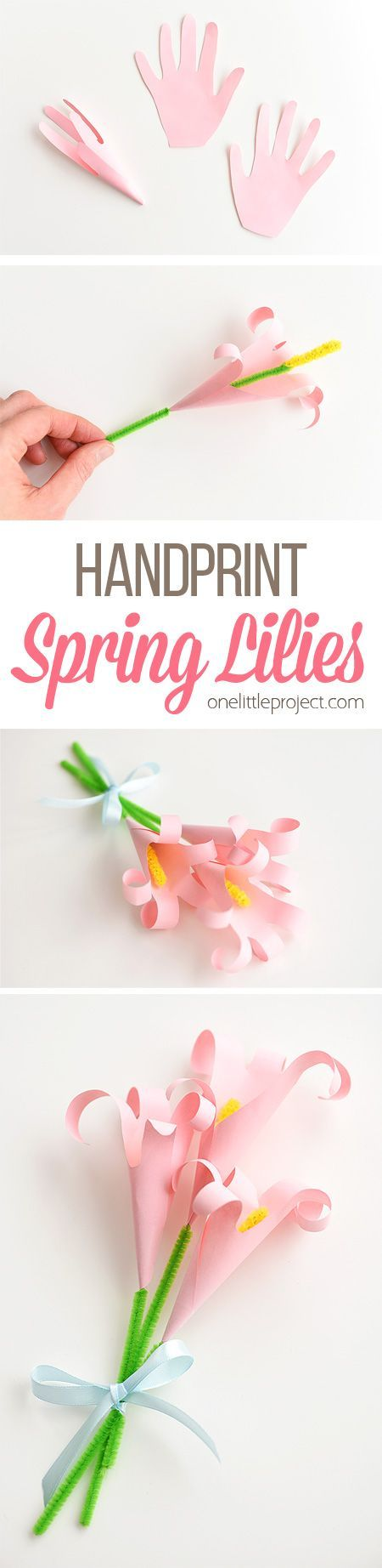 These handprint lilies are so easy to make and they look so beautiful! You can use coloured paper and make a bouquet of handprint lilies for Mother's Day. Or if you make them with white paper they make lovely Easter lilies. They're such an awesome Mother's day craft and a low mess Easter craft idea!