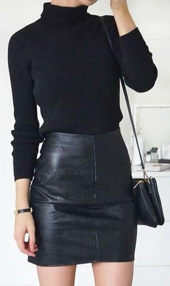 turtle neck knit. leather mini skirt. street style.