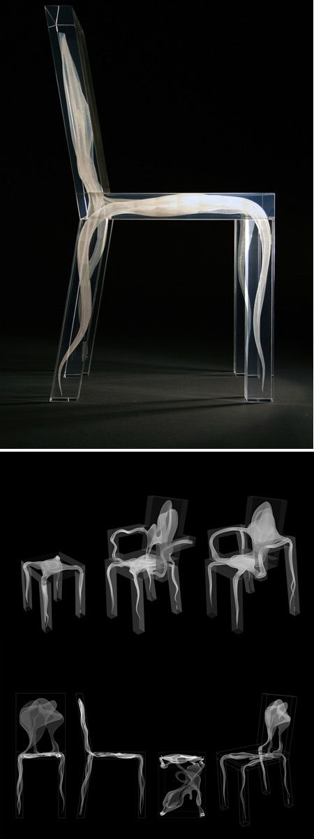 This is a Ghost Chair collection by Design Drift. The plexiglass chairs have ghost-like forms inside them, created with laser technology. The ghost is a futuristic concept of a chair, 3-dimensionally captured within the boundaries of reality. It gives you a bit of a dramatic feeling: unbelievable, high-tech, but beautiful.