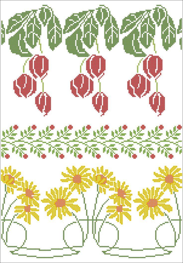 Cenefas de flores. Tulipanes y caléndulas