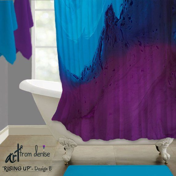 Contemporary Plum And Blue Shower Curtain Abstract Jewel Tone
