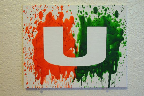 Miami Hurricanes Melted Crayon Art by MikeAndKatieMakeArt on Etsy