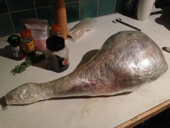 Venison leg wrapped in cling film ...