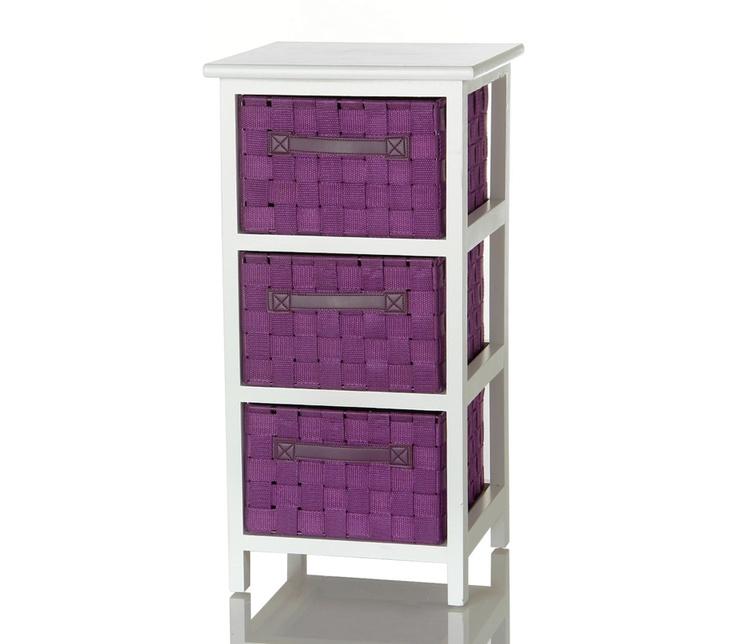 #Mueble #auxiliar con 3 cajones en color #blanco y #morado. Casa Selección.