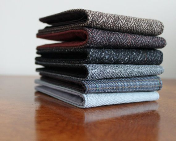Men's Wallet Dark Herringbone Wool 5 Pocket Billfold by ohsoretro, $16.00