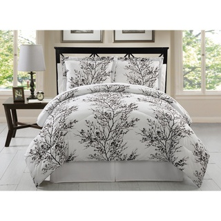 @Overstock - This eight-piece bedding set is reversible and a dramatic black and white allover leaf pattern adorns the surface. Matching sheets and pillowcases feature a stenciled pattern of leaves, softening the bold tones of the comforter and shams.http://www.overstock.com/Bedding-Bath/Black-and-White-Reversible-Leaf-8-piece-Bed-in-a-Bag-with-Sheet-Set/7258339/product.html?CID=214117 $62.99