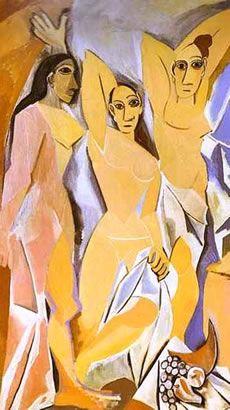 Las señoritas de Avignon. La obra es   óleo sobre lienzo pintado por Pablo Ruíz Picasso en 1907. Se trata de una de las primera sobras de movimiento cubista. (Cubismo)