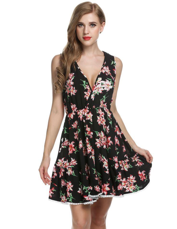 Black Zeagoo Women Crossover Deep V-Neck Sleeveless Floral Print Swing Going Out Dresses dresslink.com