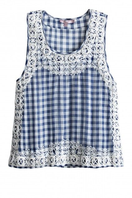 Yunes Embellished Cotton Gingham Top   | Calypso St. Barth