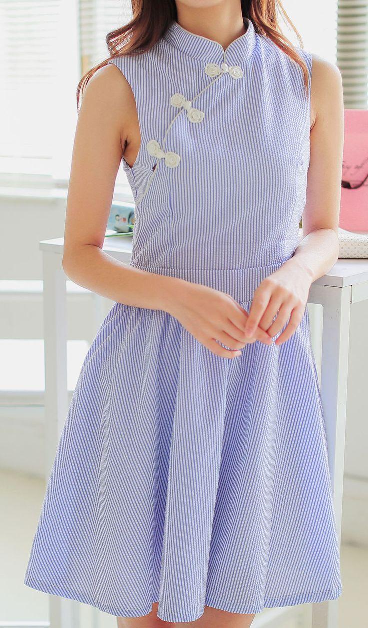 Seersuckle Cheongsam Dress