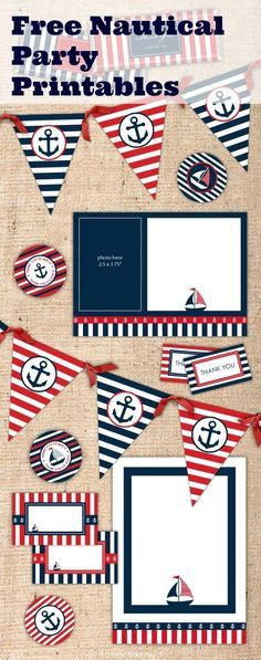Free printables for a nautical birthday party or baby shower. See more party ideas at http://CatchMyParty.com #boybirthday #1stbirthday #nautical