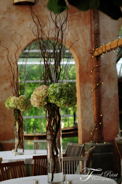 The tall centerpieces will be white birch branches with