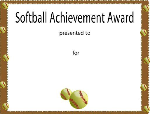 Softball certificate award 250 softball trophies and awards pinterest softball for Athletic award ideas
