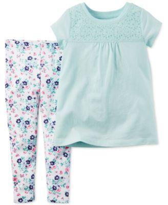 Carter's Baby Girls' 2-Pc. Lace-Detail T-Shirt & Floral-Print Leggings Set