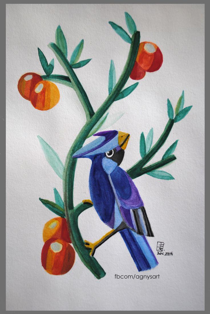 """Little Bird Icarus"" #Bird #Tree #Watercolor #Color #Nature #Green"