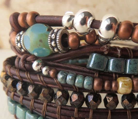 Women's leather wrap bracelet three wrap by OrnamentationbyMary