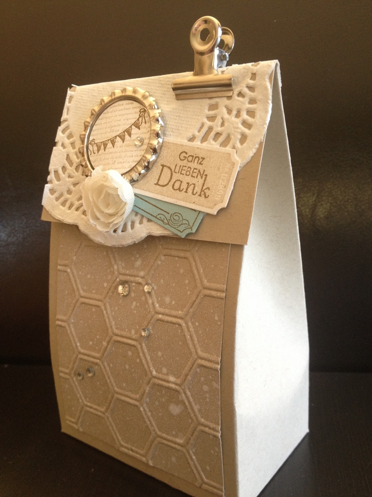 Stampin Up Box... the photo is sideways (took me a sec to figure that out!). Would make a terrific gift bag.