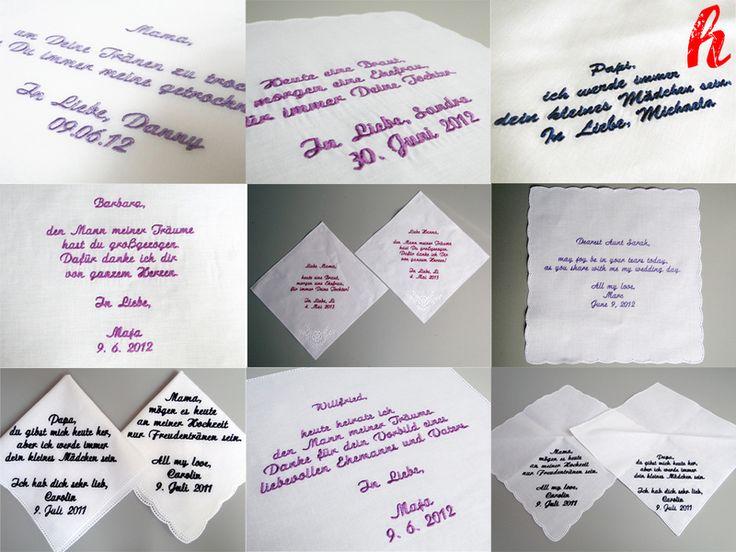 """Taschentuch """"Ihr Text"""" bestickt, personalisiert von HABSELIGKEITEN auf DaWanda.com"""