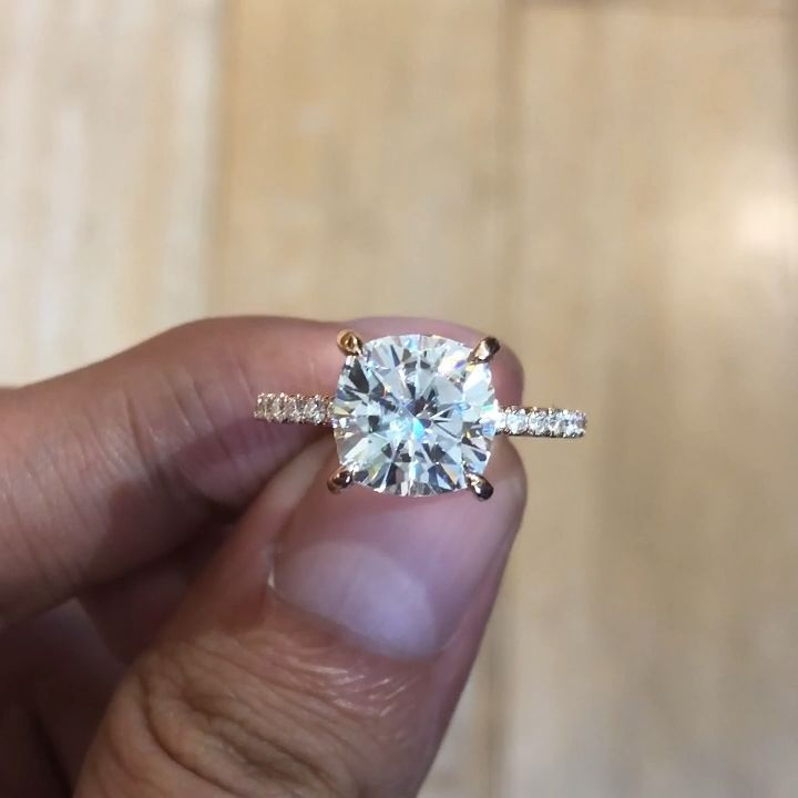 3 50 Carat Cushion Forever One Moissanite Diamond Hidden Halo Ring 14k Rose Gold In 2020 Dream Engagement Rings Unique Engagement Rings Beautiful Engagement Rings