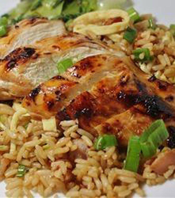 Grilled Asian Chicken - soy sauce - sesame oil - honey - fresh ginger root - 2 garlic cloves - chicken