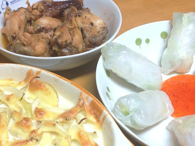 生春巻 鳥手羽元のパインジュース煮 じゃがいも、玉葱のオーブン焼き - 23件のもぐもぐ - 2013.2.17夕ご飯 by amagishinjyu