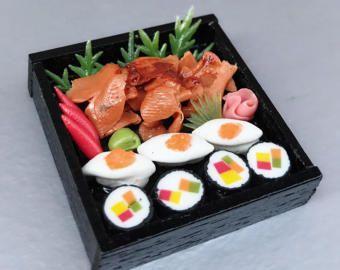 Japanse Sushi miniatuur miniatuur Sushi instellen, miniatuur Japans eten, Sushi boxset, poppen en miniatuur, Dollhouse voedsel, Mini sushi