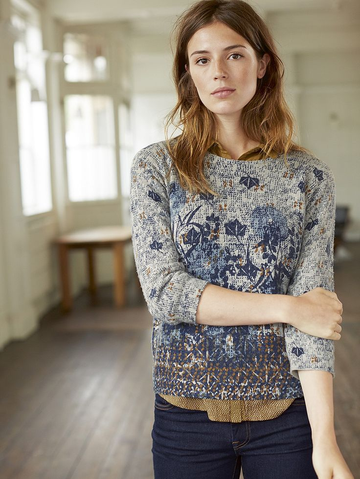 A pretty knitted jumper in a springy wool-mix yarn featuring an intricate design that�s been designed by hand in-house (of course). Its boxy shape makes it perfect for layering over cotton basics like our Joy Longline Jersey Tee.