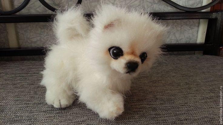 Купить Малыш шпиц - белый, щенок тедди, игрушка, шпиц, игрушка из меха, искусственный мех