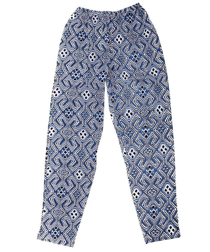 Batik3  Traditional blue geometric pattern trousers Hand-dyed Available in sizes XS,S,M,L £39.00+p&p www.batikbali.co.uk