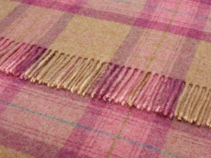 Wool Throw Blanket By Bronte British Skye Check Rose