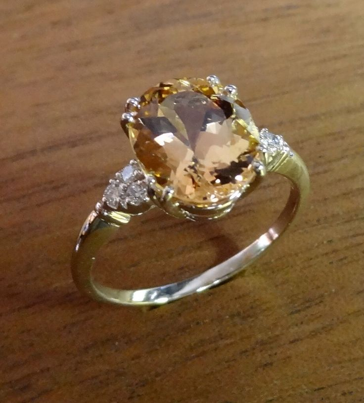 Natural Oval Golden Imperial Topaz & Diamonds Engagement Ring 18k White Gold Antique / Vintage Style by DeAguiarDesigns on Etsy https://www.etsy.com/listing/220197715/natural-oval-golden-imperial-topaz
